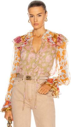 Zimmermann Lovestruck Ruffle Shirt in Mixed Roses | FWRD