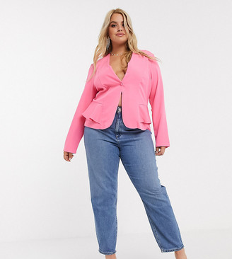 ASOS DESIGN Curve recycled high rise farleigh 'slim' mom jeans in mid vintage wash