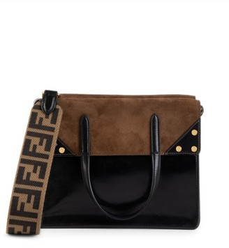 Fendi Large Flip Leather & Suede Crossbody Bag