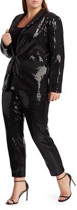 Joan Vass, Plus Size Classic-Fit Sequin Jacket