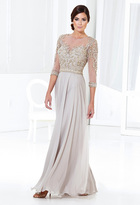 Terani Couture Elegantly Embellished Three-Quarter Sleeves Evening Gown M3810