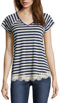 REWIND Rewind Short Sleeve V Neck Stripe T-Shirt-Womens Juniors
