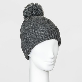 Universal Thread Women' Cable Knit Pom Beanie - Univeral ThreadTM Dark