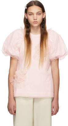 Simone Rocha Pink Ruched Flowers Puff Sleeves T-Shirt