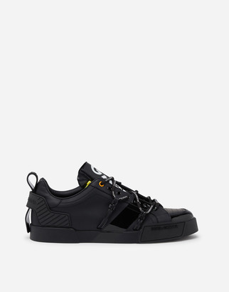 Dolce & Gabbana Portofino Sneakers In Calfskin And Patent Leather