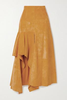 Alexander McQueen Draped Suede Skirt - Mustard