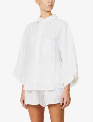 Deiji Studios Woven linen pyjama shorts set