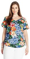 Caribbean Joe Women's Plus-Size V Neck Short Sleeve Top with Side Ruche