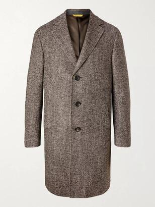 Canali Wool-Blend Herringbone Overcoat - Men - Brown