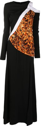 Just Cavalli Animal Print Panel Maxi Dress