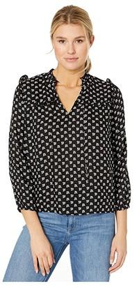 Lucky Brand Miriam Ruffle Top (Black Multi) Women's Clothing