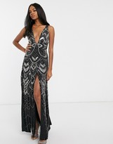 Asos Design DESIGN embellished split detail maxi dress