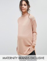 Bluebelle Maternity Striped Funnel Neck Sweater