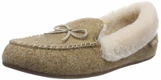 FitFlop Women's Clara GLIMMERWOOL Moccasin Low-Top Slippers (Gold 010) 6 UK