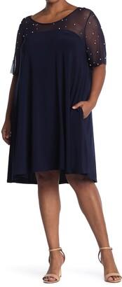 Nina Leonard Smocked Neck 3/4 Length Sleeve Dress