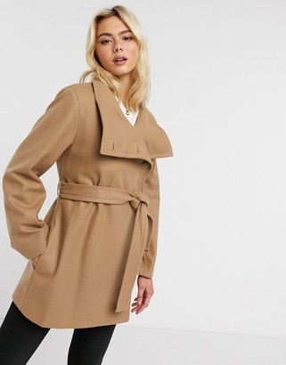 French Connection funnel-neck wool belted coat in Camel