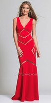 Dave and Johnny Sheer Arrow Halter Prom Dress