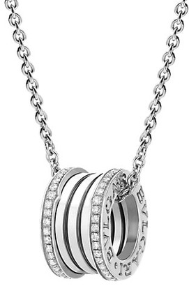 Bvlgari B.zero1 18K White Gold & Diamond Pendant Necklace
