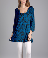 Lily Blue & Black Floral Scoop Neck Tunic - Plus Too