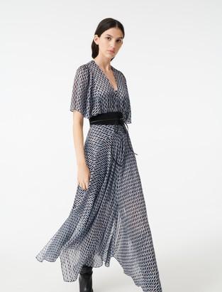 Maje Lurex jacquard print scarf dress