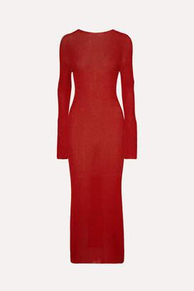 Philosophy di Lorenzo Serafini Metallic Ribbed Stretch-knit Midi Dress - Red
