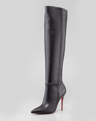 Christian Louboutin Armurabotta Leather Over-the-Knee Red Sole Boot