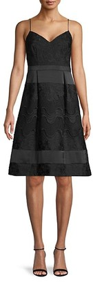 Aidan Mattox Embroidered Lace A-Line Dress