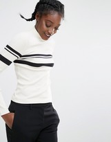 Monki Stripe High Neck Top