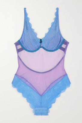 Dora Larsen Jessica Stretch-tulle And Lace Bodysuit - Blue