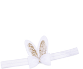 Jean Marie White & Gold Glitter Bunny Bow Headband
