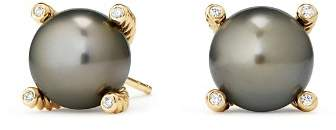 David Yurman Solari Cultured Tahitian Gray Pearl Earrings with Diamonds in 18K Gold