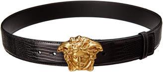 Versace Palazzo Medusa Buckle Reptile-Embossed Leather Belt