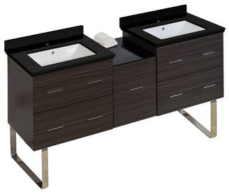 "Phoebe 5 Drawers Drilling Floor Mount 62"" Double Bathroom Vanity Set Orren Ellis Base Finish: Dawn Gray, Sink Finish: White, Faucet Mount: Single Hole"