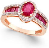 Macy's Certified Ruby (1-3/4 ct. t.w.) and Diamond (1/4 ct. t.w.) Statement Ring in 14k Rose Gold