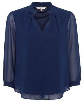 Dorothy Perkins Womens Billie & Blossom Petite Navy Plain Long Sleeve Blouse