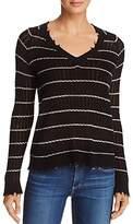 Minnie Rose Distressed Striped Cashmere Sweater
