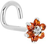 Body Candy Solid 14k White Gold and Clear Cubic Zirconia Flower Left Nostril Screw 18 Gauge
