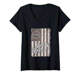Womens Betsy Ross Flag 4th Of July American USA Patriotic Vintage V-Neck T-Shirt