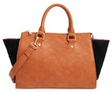Sole Society 'Bridgette' Winged Faux Leather & Faux Suede Satchel - Brown