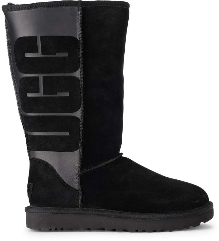 e88665797d1 Classic Tall Black Leather And Sheepskin Boots