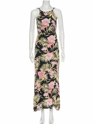 For Love & Lemons Floral Print Long Dress Black