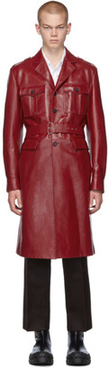 Prada Red Leather Long Jacket