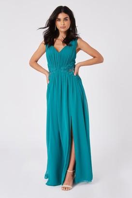 Little Mistress Bridesmaid Halston Aquatic Jade Lace-Applique Maxi Dress
