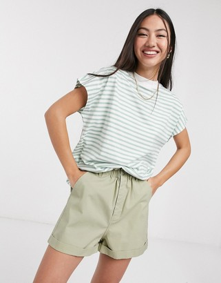 Weekday striped high-neck tee in green and white