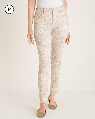 So Slimming Petite Lace-Print Girlfriend Ankle Jeans