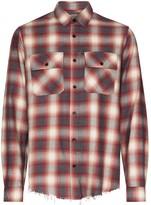 Amiri flannel frayed-hem plaid shirt