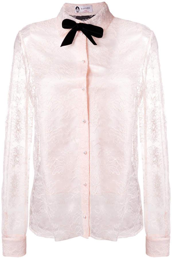 Lanvin pussy bow lace blouse