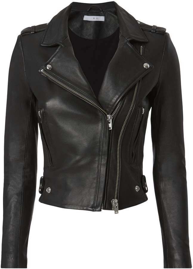 IRO Dylan Black Cropped Moto Jacket