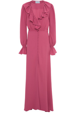 Luisa Beccaria Ruffle-Trimmed Crepe Maxi Dress
