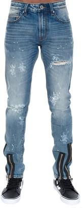 Cult of Individuality Rockabilly Distressed Zip Hem Slim Jeans